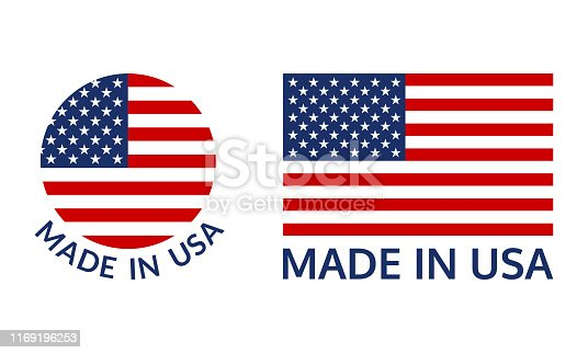 Made in USA logo or label set. US icon with American flag. Vector illustration.