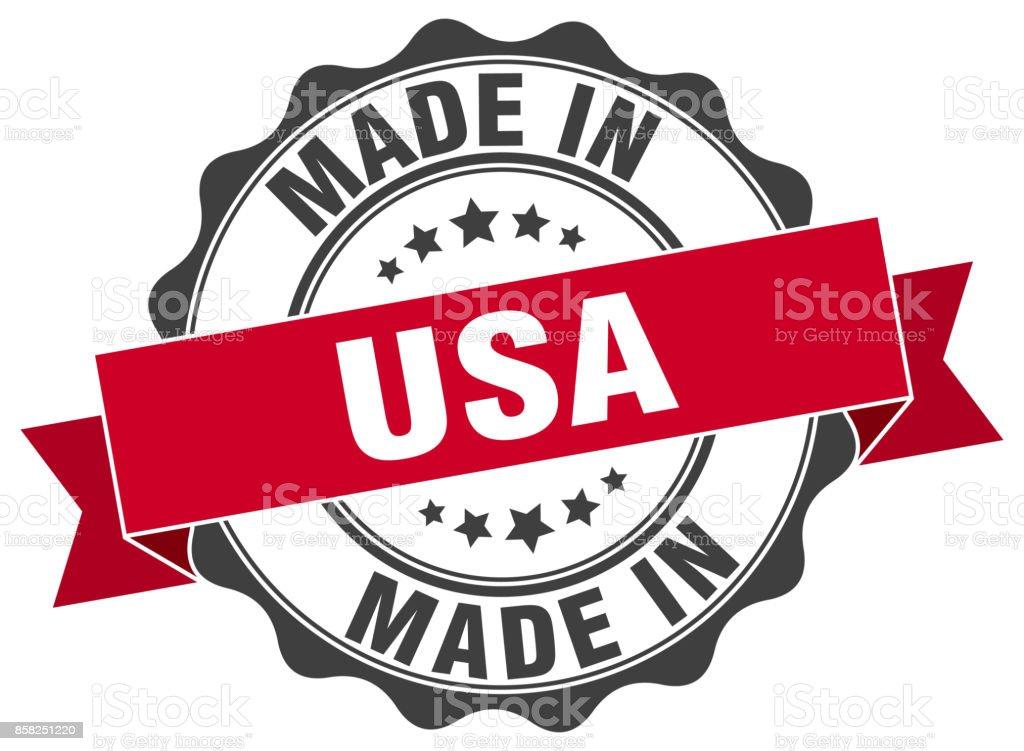 feita nos EUA ronda selo - ilustração de arte em vetor