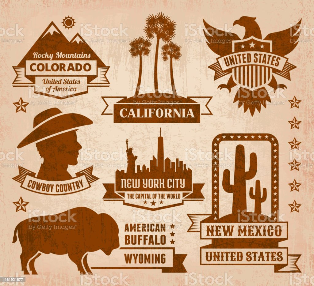 Made in USA royalty free vector iconic State Grunge Set royalty-free made in usa royalty free vector iconic state grunge set stock vector art & more images of american bison
