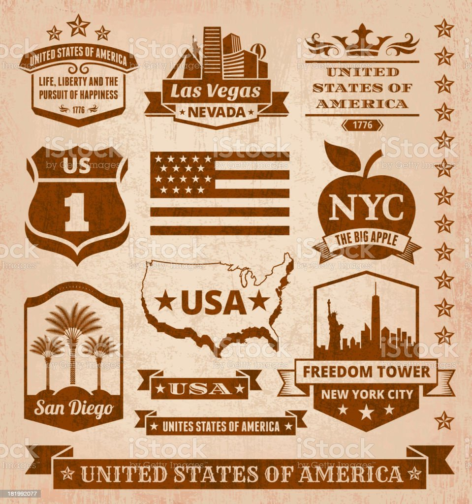 Made in USA royalty free vector iconic State Grunge Set royalty-free stock vector art