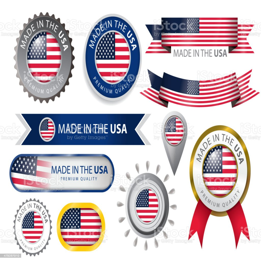 Made in USA Seal, American Flag (Vector Art) vector art illustration