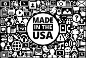 Made In USA Sign Icon Black and White Internet Technology Background. This image features the main icon on a white round button. The vector button is surrounded by a seamless pattern of internet and modern technology icons. The icons vary in size and are white in color. The background is a solid black color. Icons include such technology elements as computer, email, internet, communications and many more.