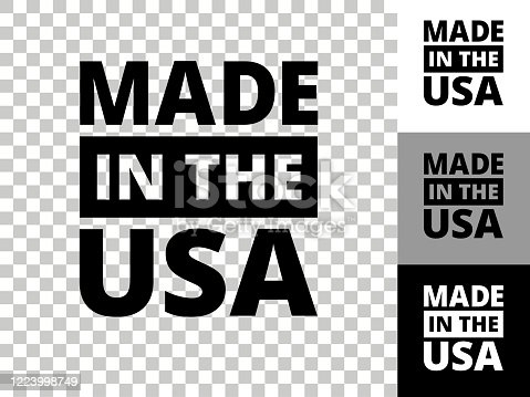 Made In USA Sign Icon on Checkerboard Transparent Background. This 100% royalty free vector illustration is featuring the icon on a checkerboard pattern transparent background. There are 3 additional color variations on the right..