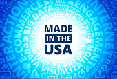 Made In USA Sign Icon on Internet Modern Technology Words Background. This blue vector background features the main icon in the center of the image. The icon is surrounded by a set of conceptual words and technology and internet icons. The icon is highlighted by a strong starburst glow effect and stands out from the rest of the image. The technology terminology is arranged in a circular manner. The predominant tone of the image is blue with a circular gradient that originates from the center of the composition.