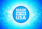 Made In USA Sign Icon on Internet Technology Background. This image features the main icon on a blue round button. The vector button is surrounded by a seamless pattern of internet and modern technology icons. The icons vary in size. There is a glow effect around the button. Icons include such technology elements as computer, email, internet, communications and many more. The image is predominantly blue in color.