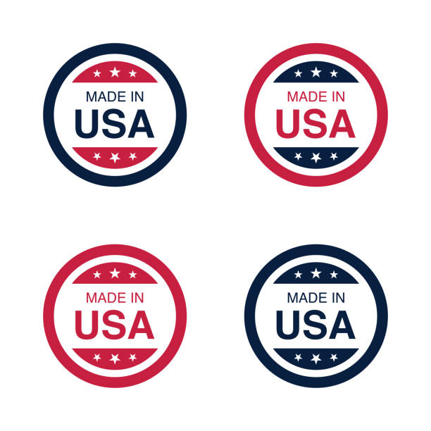 made in usa (united states of america) sign, label and emblem vector illustration - wykonać stock illustrations