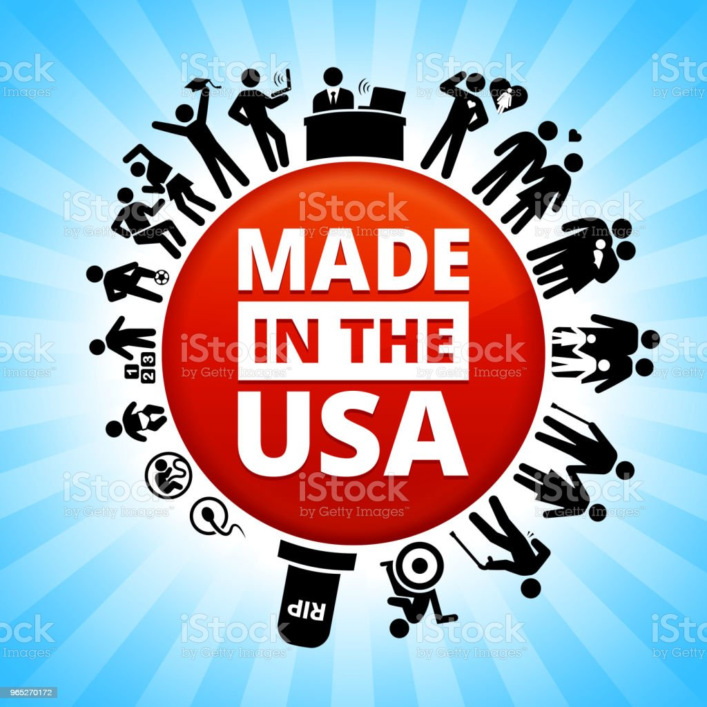 Made In USA Sign Lifecycle Stages of Life Background made in usa sign lifecycle stages of life background - stockowe grafiki wektorowe i więcej obrazów adolescencja royalty-free