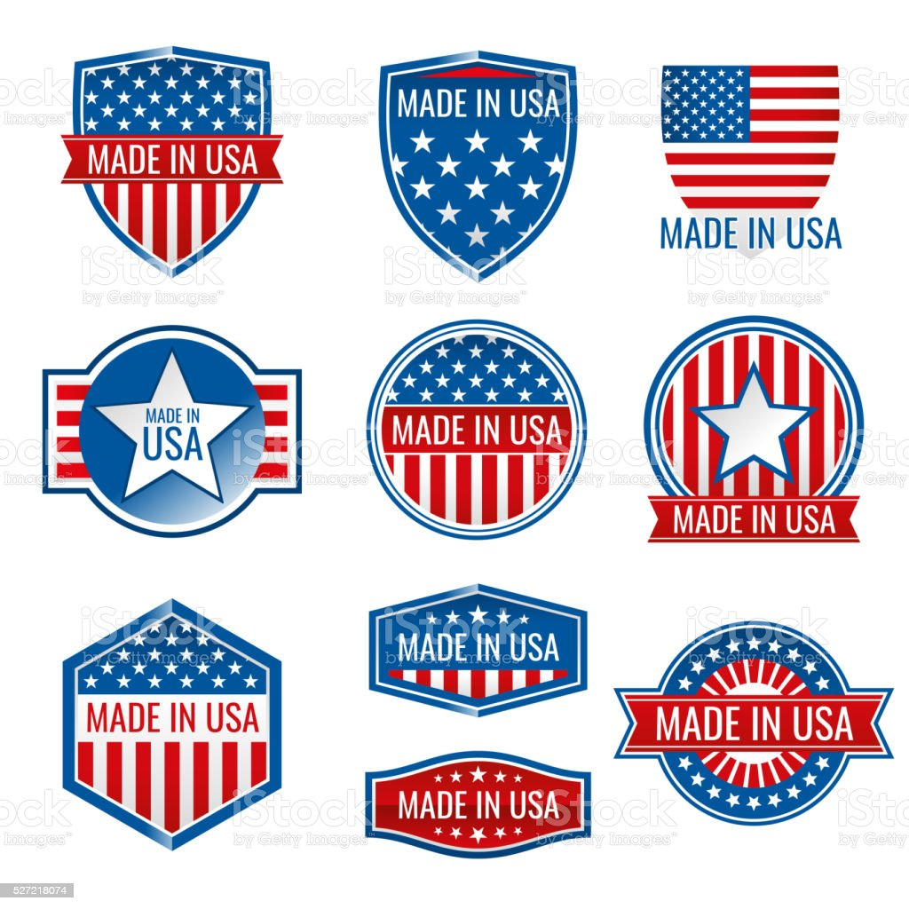 Made in USA vector icons vector art illustration