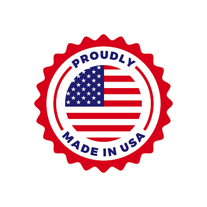 Made in USA vector logo seal. American US flag circle icon for premium quality package label made in USA