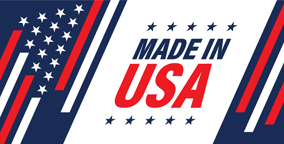 Made in USA web banner with American star and stripes background