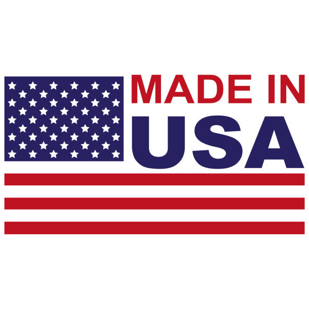 made in usa with flag icon - wykonać stock illustrations