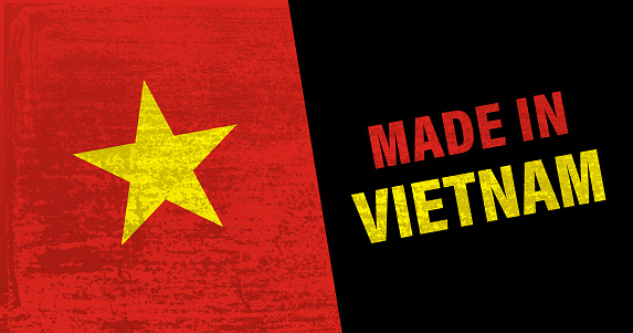 Made in Vietnam icon with Vietnamese flag