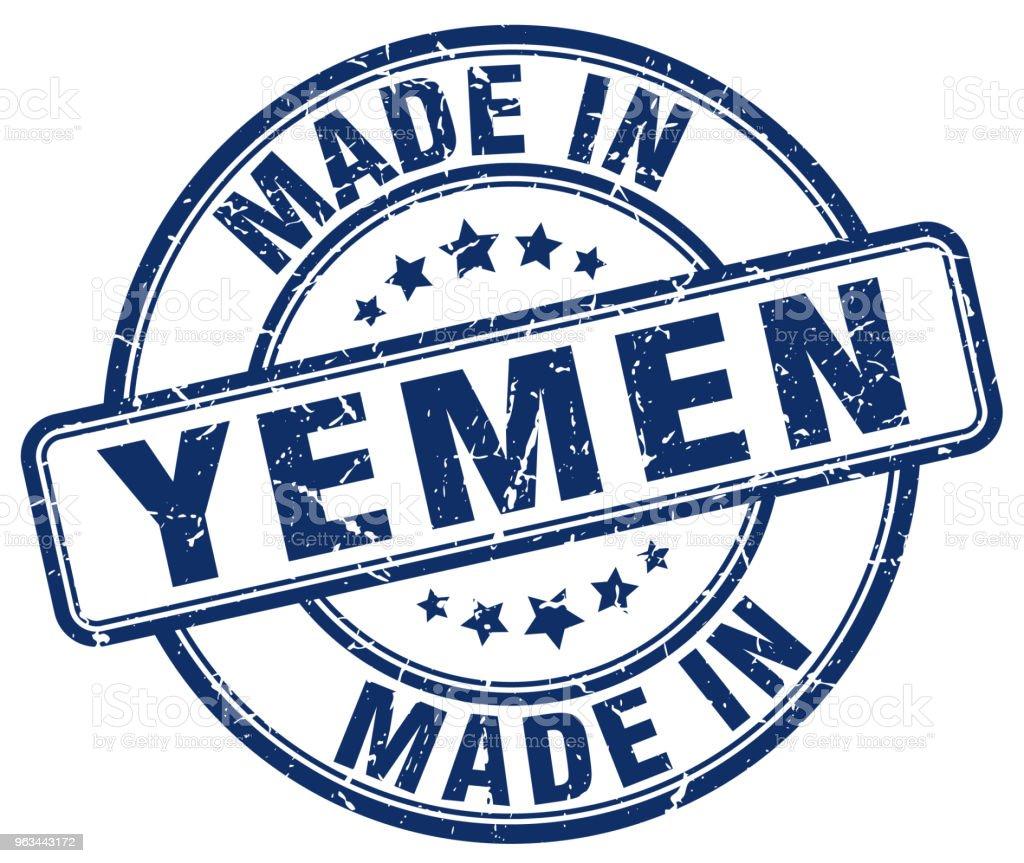 made in Yemen blue grunge round stamp - Grafika wektorowa royalty-free (Białe tło)