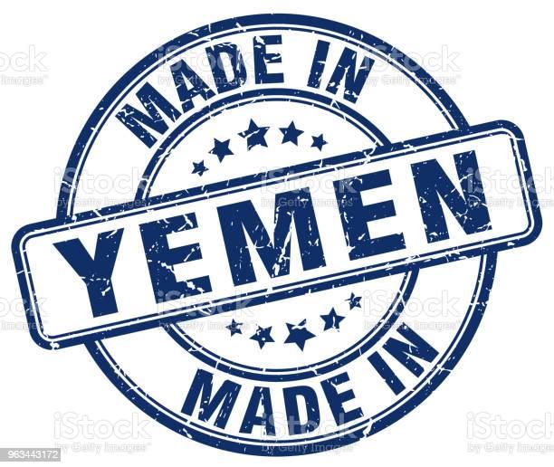 Wykonane W Jemenie Niebieski Grunge Okrągły Znaczek - Stockowe grafiki wektorowe i więcej obrazów Białe tło