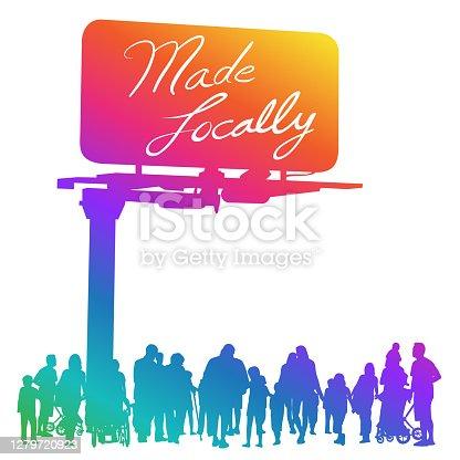 istock Made Locally Billboard Sign Rainbow 1279720923