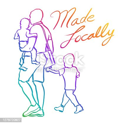 istock Made Locally Toddlers And Dad Rainbow 1279720927