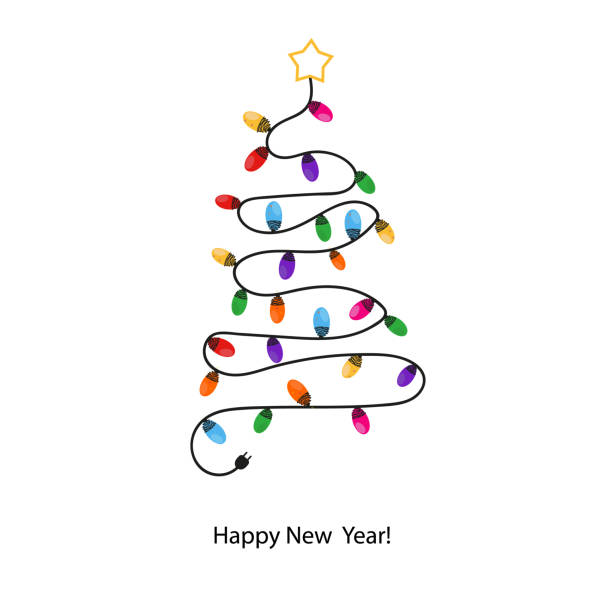 Made of colorful light bulb tree. Happy new year greeting card Made of colorful light bulb tree. Happy new year greeting card light through trees stock illustrations