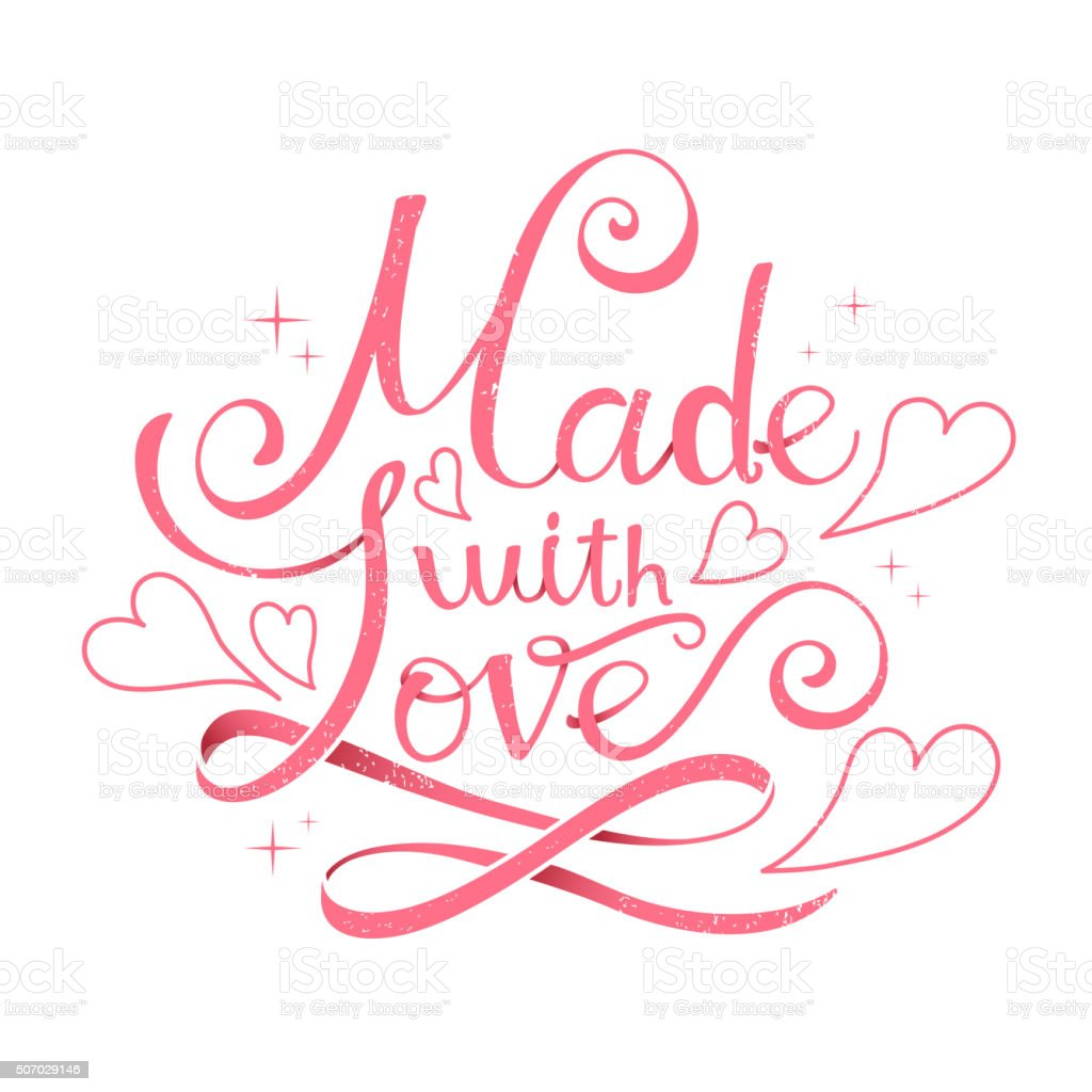 Download Made With Love Calligraphy Design Stock Illustration ...