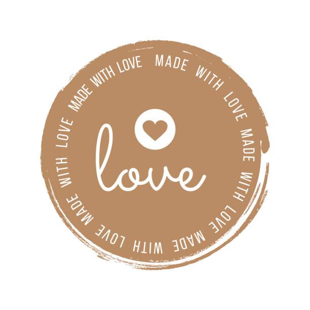 Hergestellt mit Liebe Inschrift Schriftzug Zitat. Hergestellt mit Liebe Kalligraphie. Hergestellt mit Liebe Karte. Vektor-Illustration – Vektorgrafik