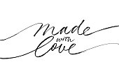 istock Made with love lettering for handcrafted goods. Hand drawn black line calligraphy with swooshes. 1279406575