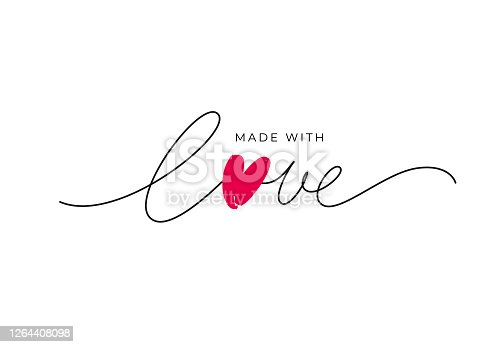 istock Made with love lettering with heart symbol. Hand drawn black line calligraphy. 1264408098