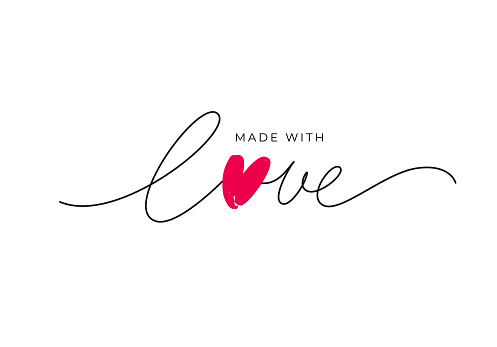 Made with love lettering with heart symbol. Hand drawn black line calligraphy.