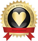 Made with love seal or icon