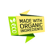 Made with organic ingredients lettering