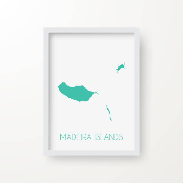 ilustrações de stock, clip art, desenhos animados e ícones de madeira islands map in a frame on white background - funchal madeira