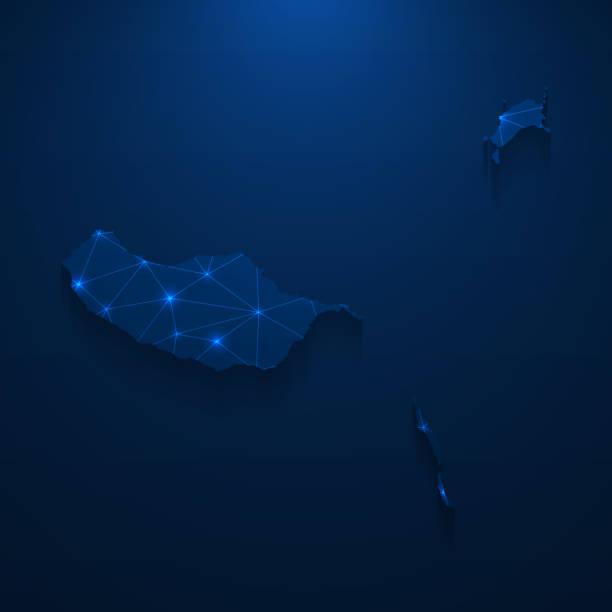 ilustrações de stock, clip art, desenhos animados e ícones de madeira islands map network - bright mesh on dark blue background - funchal madeira