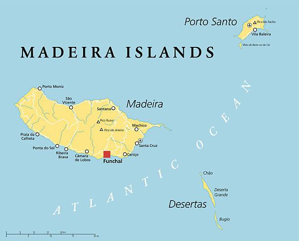 ilustrações de stock, clip art, desenhos animados e ícones de ilhas da madeira mapa político - funchal madeira