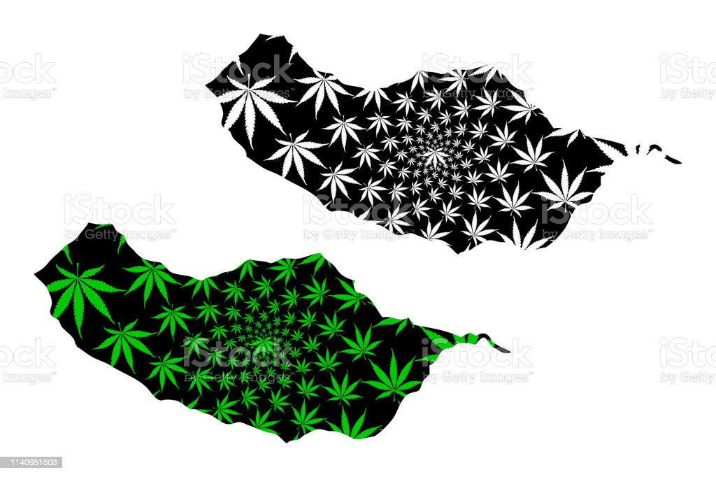 Madeira - map is designed cannabis leaf - Royalty-free Abstrato arte vetorial