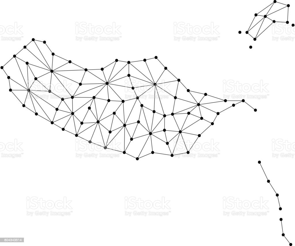 Madeira map of polygonal mosaic lines network, rays and dots vector illustration. vector art illustration