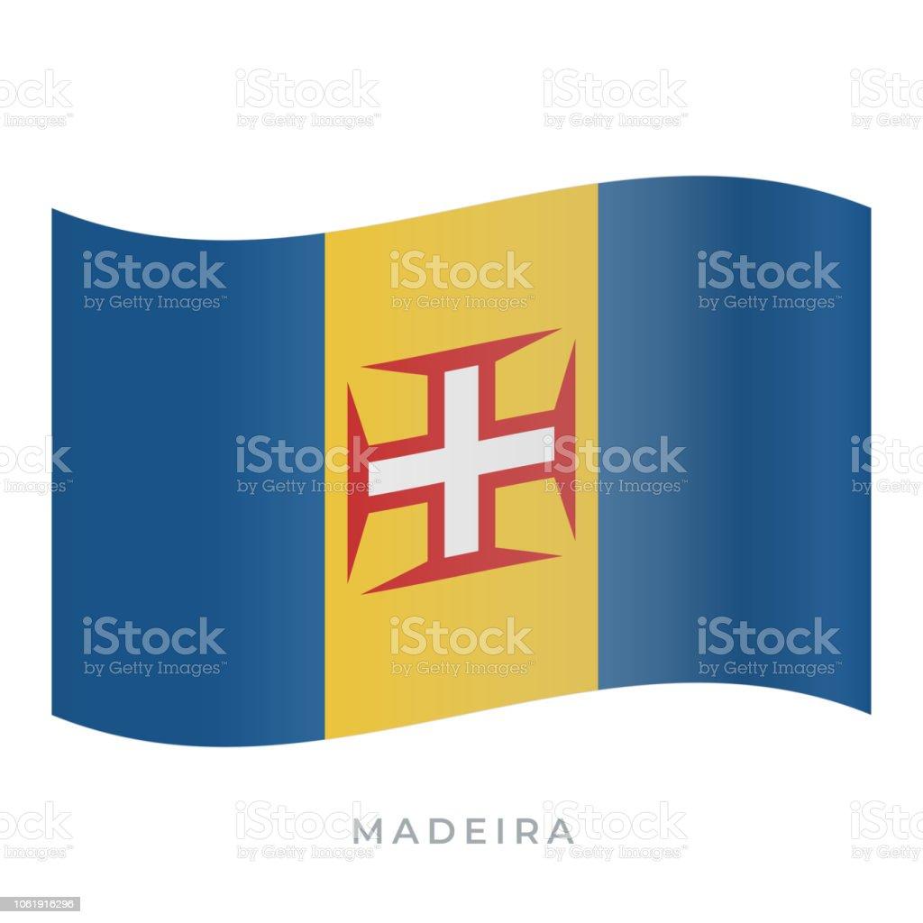 Madeira waving flag vector icon. Vector illustration isolated on white. - Royalty-free Bandeira arte vetorial