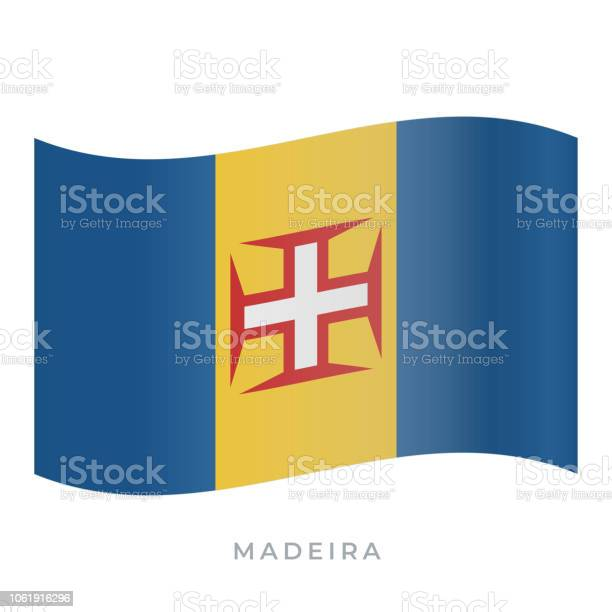 Madeira Waving Flag Vector Icon Vector Illustration Isolated On White - Arte vetorial de stock e mais imagens de Bandeira