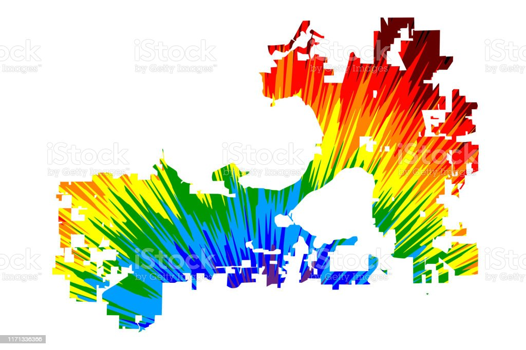 Madison City Map Is Designed Rainbow Abstract Colorful ...