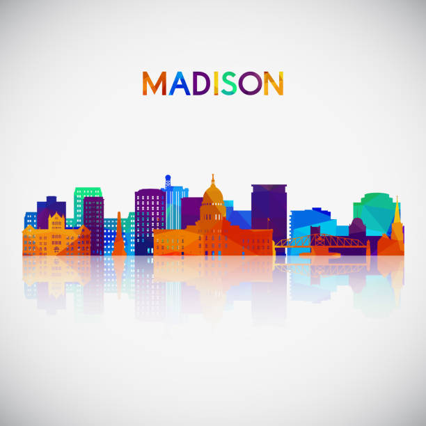 Madison skyline silhouette in colorful geometric style. Symbol for your design. Vector illustration. Madison skyline silhouette in colorful geometric style. Symbol for your design. Vector illustration. madison wisconsin stock illustrations