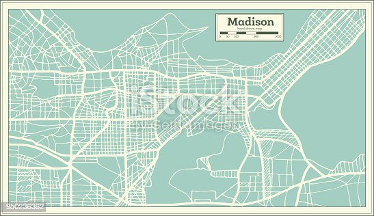Madison USA City Map in Retro Style. Outline Map. Vector Illustration.