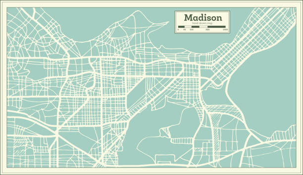 Madison USA City Map in Retro Style. Outline Map. Madison USA City Map in Retro Style. Outline Map. Vector Illustration. madison wisconsin stock illustrations