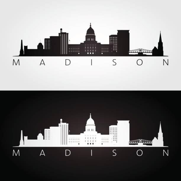 Madison USA skyline and landmarks silhouette, black and white design, vector illustration. Madison USA skyline and landmarks silhouette, black and white design, vector illustration. madison wisconsin stock illustrations