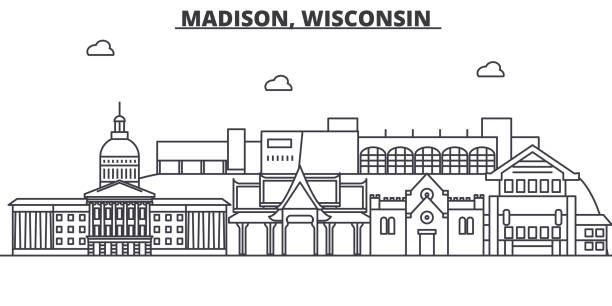Madison, Wisconsin architecture line skyline illustration. Linear vector cityscape with famous landmarks, city sights, design icons. Landscape wtih editable strokes Madison, Wisconsin architecture line skyline illustration. Linear vector cityscape with famous landmarks, city sights, design icons. Editable strokes madison wisconsin stock illustrations