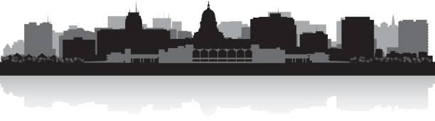 Madison Wisconsin city skyline silhouette Madison Wisconsin city skyline vector silhouette illustration madison wisconsin stock illustrations