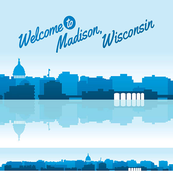 Madison, Wisconsin Skyline Detailed Madison, Wisconsin skyline with various colors. EPS 10 file. Transparency effects used on highlight elements. madison wisconsin stock illustrations