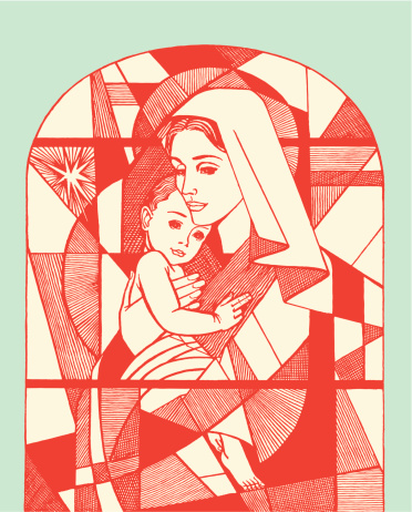 Madonna and Child Stained Glass Window