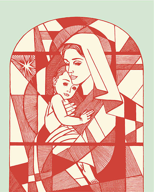 madonna und kind buntglasfenster - jungfrau stock-grafiken, -clipart, -cartoons und -symbole
