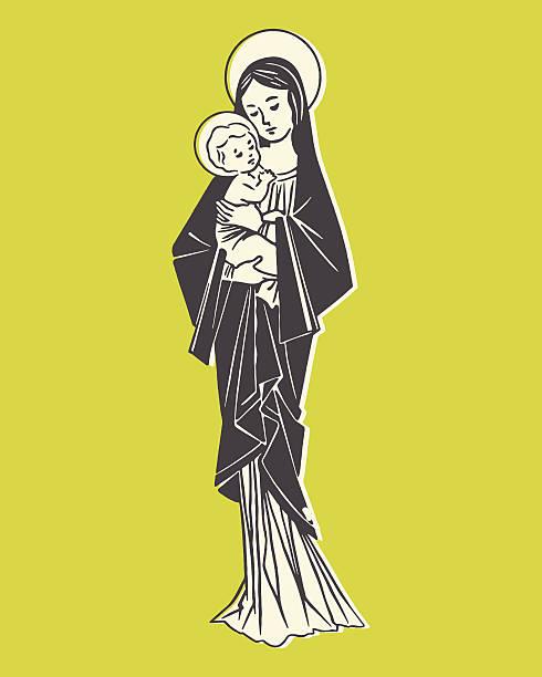 madonna und kind - jungfrau stock-grafiken, -clipart, -cartoons und -symbole