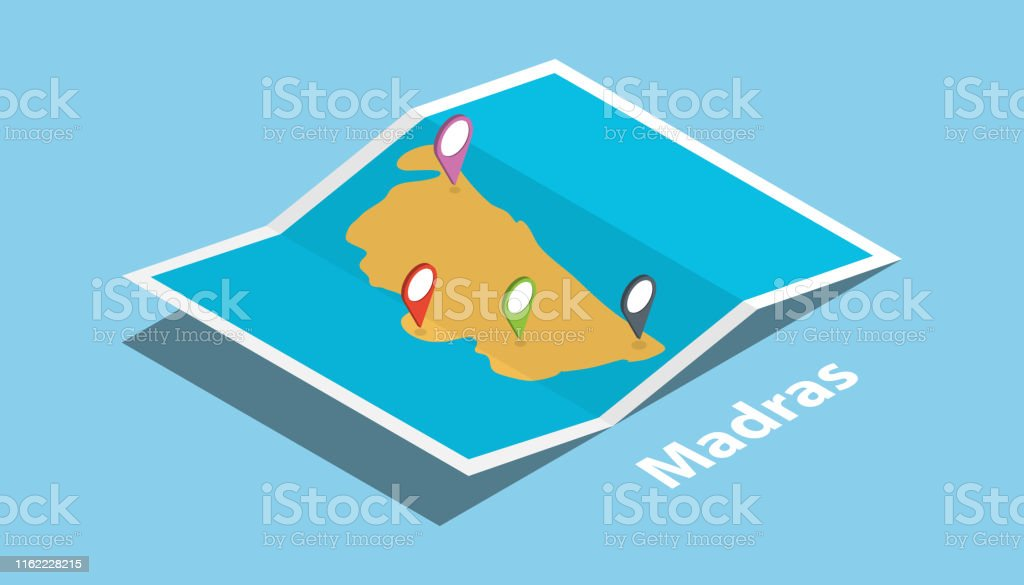 Madras Or Chennai India Explore Maps With Isometric Style ... on boston map direction, india map direction, street map direction,