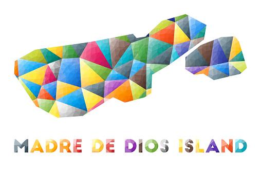 Madre de Dios Island - colorful low poly island shape.