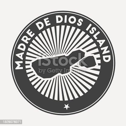 istock Madre de Dios Island round logo. 1329078371