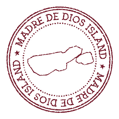 Madre de Dios Island round rubber stamp with island map.